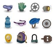 Conjunto del icono del equipo de la bicicleta de la historieta Fotografía de archivo libre de regalías