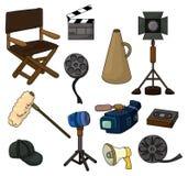 Conjunto del icono del equipo de la película de la historieta Fotografía de archivo libre de regalías