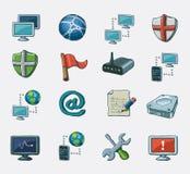 Conjunto del icono del establecimiento de una red Imagenes de archivo
