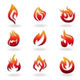 Conjunto del icono del fuego Fotos de archivo libres de regalías