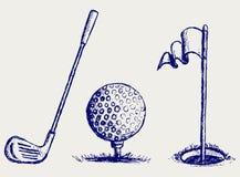 Conjunto del icono del golf Imagenes de archivo