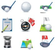 Conjunto del icono del golf del vector Fotos de archivo