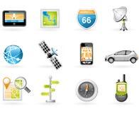 Conjunto del icono del GPS y de la navegación Imagen de archivo