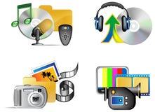 Conjunto del icono del Internet de los multimedia Imagen de archivo