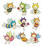 Conjunto del icono del muchacho de la abeja de la historieta stock de ilustración