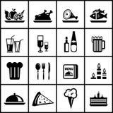 Conjunto del icono del negro de la comida del restaurante del vector Imagen de archivo libre de regalías