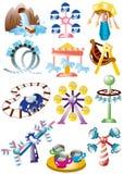 Conjunto del icono del patio de la historieta Foto de archivo libre de regalías