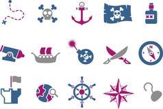 Conjunto del icono del pirata ilustración del vector