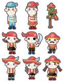 Conjunto del icono del pirata de la historieta Imágenes de archivo libres de regalías