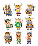 Conjunto del icono del pirata de Vikingo de la historieta Fotos de archivo