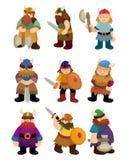 Conjunto del icono del pirata de Vikingo de la historieta Imagenes de archivo