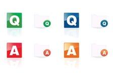 Conjunto del icono del Q&A Imagenes de archivo