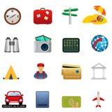 Conjunto del icono del recorrido y del turismo Imagenes de archivo