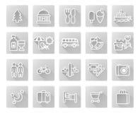 Conjunto del icono del recorrido y del turismo Imagen de archivo libre de regalías