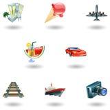 Conjunto del icono del recorrido y del turismo Fotos de archivo libres de regalías