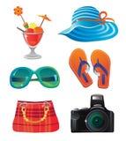 Conjunto del icono del recorrido y del verano Fotografía de archivo libre de regalías
