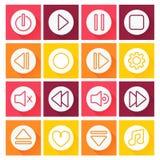 Conjunto del icono del reproductor multimedia Diseño plano Fotografía de archivo libre de regalías