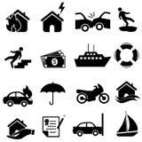 Conjunto del icono del seguro Fotos de archivo libres de regalías