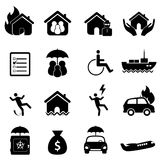 Conjunto del icono del seguro Foto de archivo