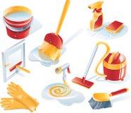 Conjunto del icono del servicio de la limpieza del vector Foto de archivo libre de regalías