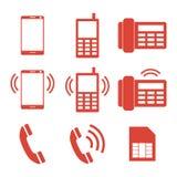 Conjunto del icono del teléfono Imagen de archivo