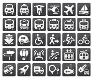 Conjunto del icono del transporte Fotos de archivo libres de regalías