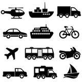 Conjunto del icono del transporte Imágenes de archivo libres de regalías