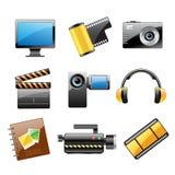 Conjunto del icono del vídeo y de la foto Fotos de archivo