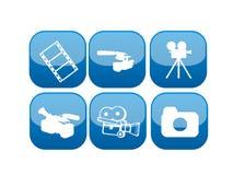 Conjunto del icono del vídeo y de la película del Web Imagen de archivo libre de regalías