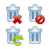 Conjunto del icono del vector de cubos de la basura ilustración del vector