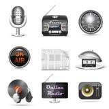 Conjunto del icono del vector de la estación de radio libre illustration