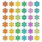 Conjunto del icono del vector del copo de nieve Fotos de archivo libres de regalías