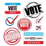 Conjunto del icono del voto Fotos de archivo libres de regalías
