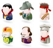 Conjunto del icono del Web de la gente del avatar Imágenes de archivo libres de regalías