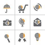 Conjunto del icono del Web del globo Imagenes de archivo