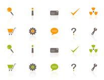 Conjunto del icono del Web y de las compras Fotografía de archivo libre de regalías