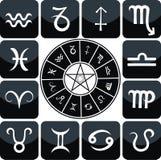Conjunto del icono del zodiaco fotos de archivo libres de regalías