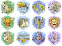 Conjunto del icono del zodiaco Imágenes de archivo libres de regalías