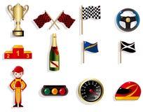 Conjunto del icono el competir con de coche de la historieta f1 Fotografía de archivo