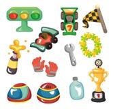 Conjunto del icono el competir con de coche de la historieta f1 Foto de archivo libre de regalías