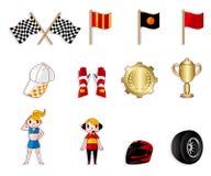 Conjunto del icono el competir con de coche de la historieta f1 Fotos de archivo