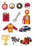 Conjunto del icono el competir con de coche de la historieta f1 Fotos de archivo libres de regalías