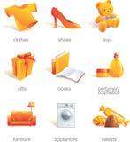 Conjunto del icono. Items de las compras   Fotos de archivo libres de regalías