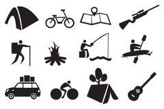 Conjunto del icono que acampa Fotos de archivo libres de regalías