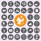 Conjunto del icono que acampa Vector/EPS10 Imagen de archivo libre de regalías