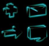 Conjunto del icono que brilla intensamente Fotos de archivo libres de regalías