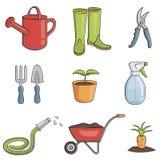 Conjunto del icono que cultiva un huerto ilustración del vector
