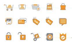 Conjunto del icono que hace compras o de compra Imágenes de archivo libres de regalías