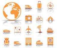 Conjunto del icono del recorrido y del turismo stock de ilustración