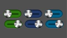 Conjunto del interruptor deslizante del metal del vector Imágenes de archivo libres de regalías